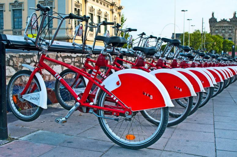 BARCELONA, SPAIN - JUN 08, 2014: Bicycle of the Bicing service in Barcelona sponsored by Vodafone. With the bicing sharing service people can rent bicycles for short trips.
